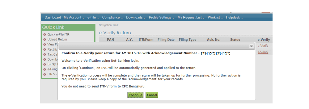 confirmation page e verify itr