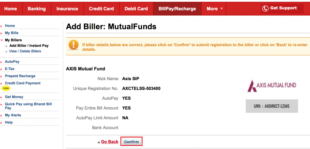 SIP in kotak bank-confirm biller