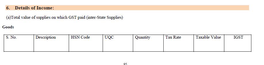 Details of Income under GSTR-9