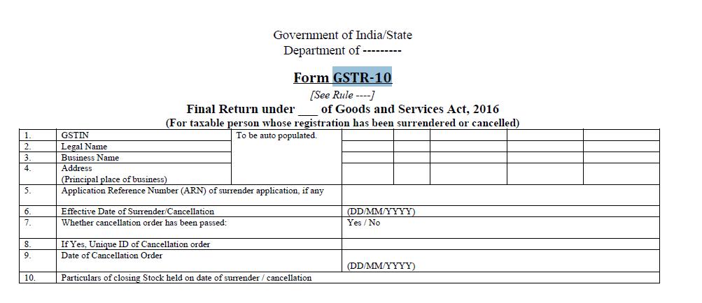 Final Return in Form GSTR-10