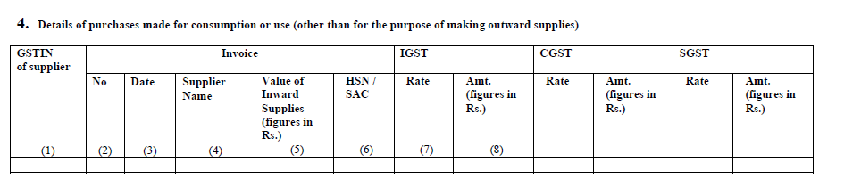 Details of inward supply in GSTR-11