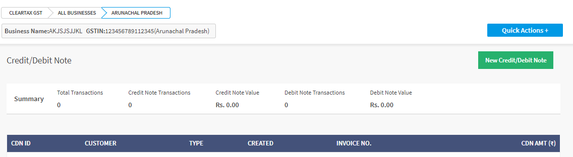 View Credit Debit Note