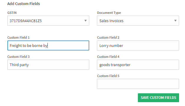 ClearTax GST Software- How to Add Custom Fields in a Sale Invoice