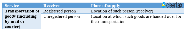 place of supply for transportation services