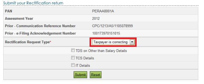Rectification under section 1541 btaxpayer is correcting the data in rectification select the reason for seeking rectification and the schedules in the return being changed spiritdancerdesigns Images