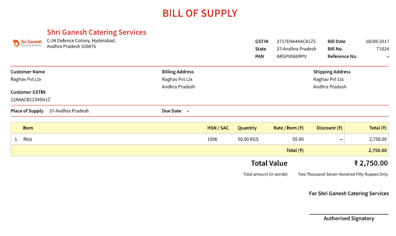 What is a bill of supply for How to bill a client