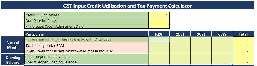 GST Tax payment Calculator
