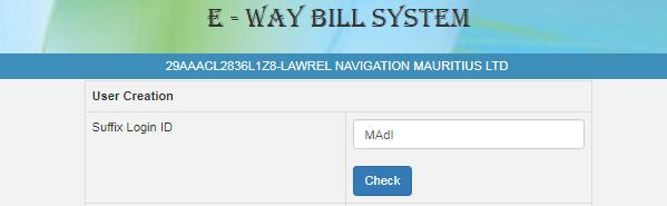 e-Way Bill create sub-user 1